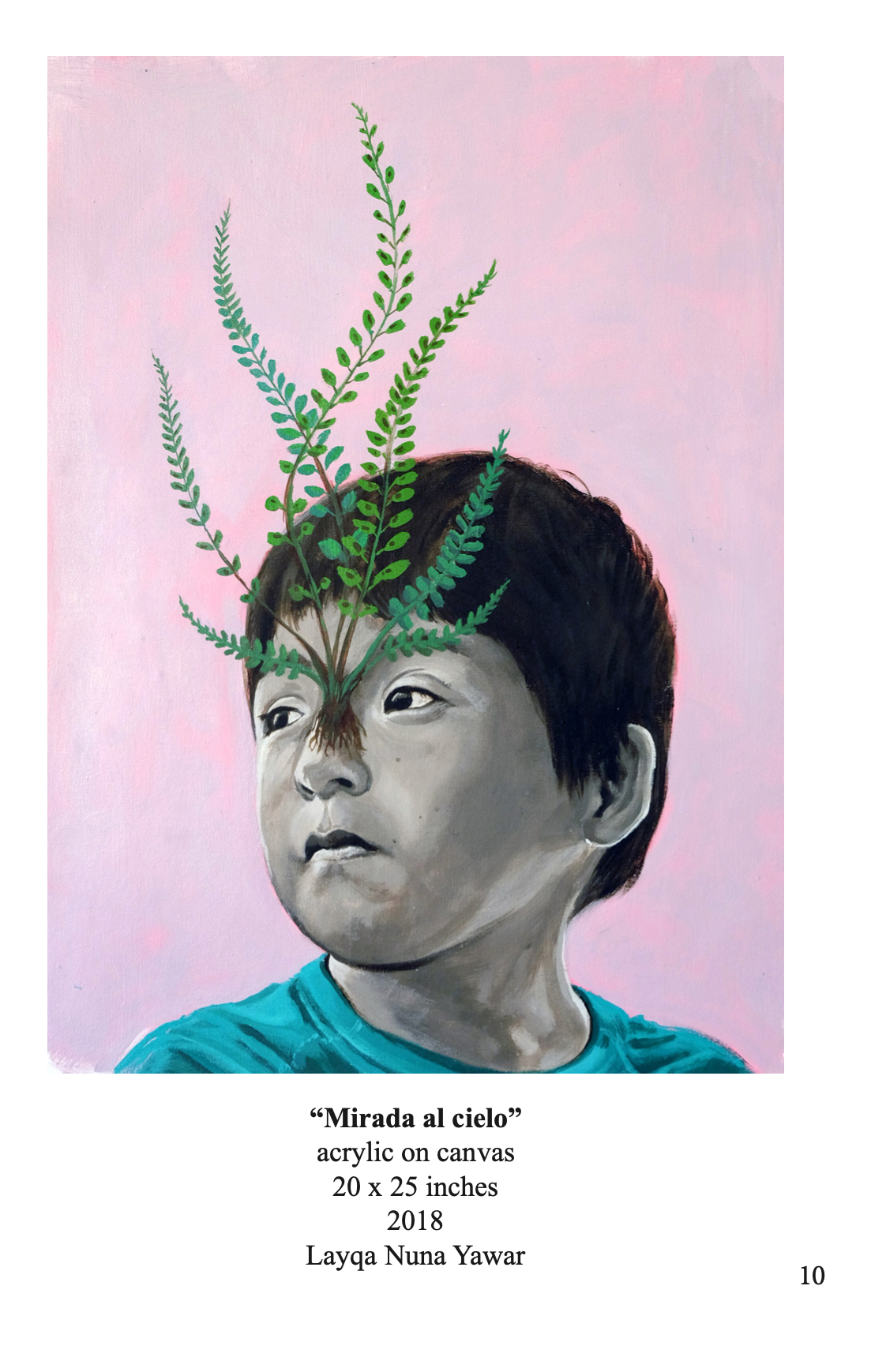 Portrait of a young child against a pink background; plants emerge from the child's face.