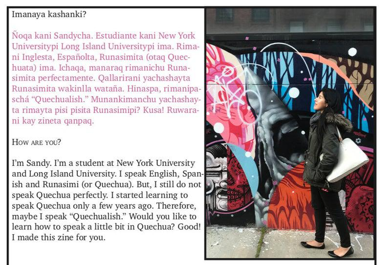 A woman standing in front of a wall of graffiti