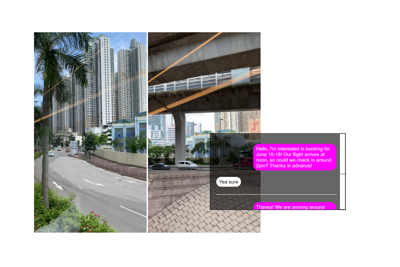 Screenshot of webzine: two side-by-side portrait-orientation images of cityscapes, overlapped by a rectangle containing a recreated text message conversation, all against a white background.