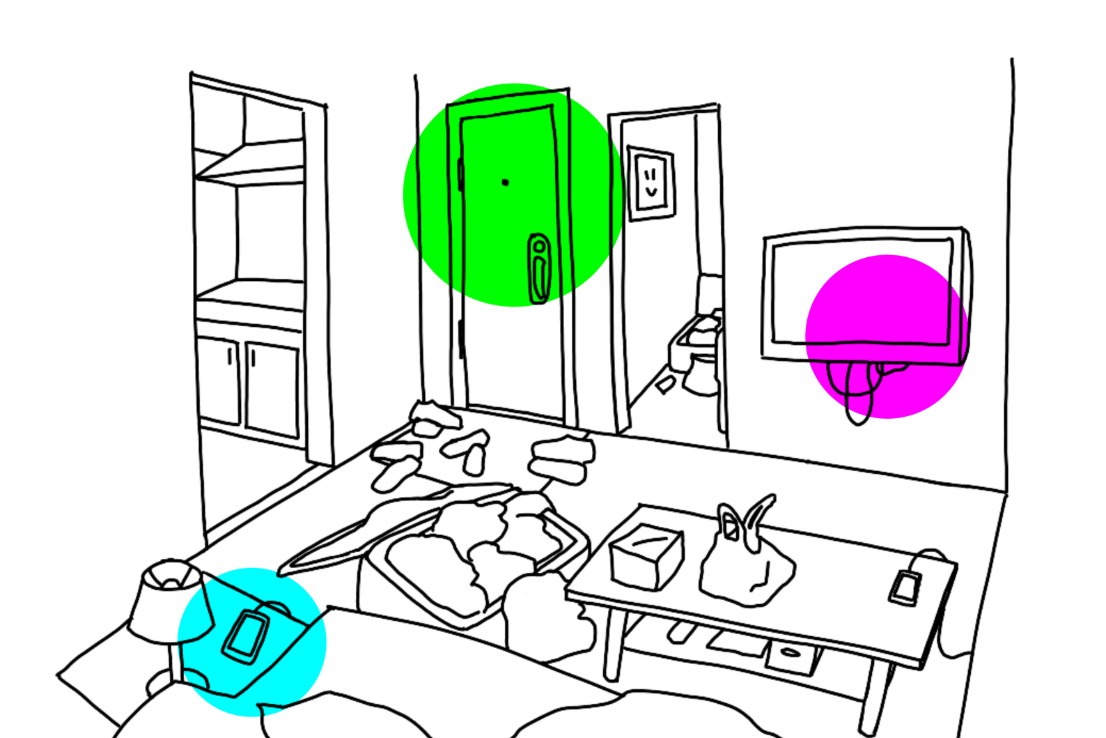 Screenshot of webzine: lineart illustration of a small living room, with an open suitcase overflowing in the center. The image is decorated by 3 solid colored circles highlighting the front door, the TV, and a smartphone on a side table.
