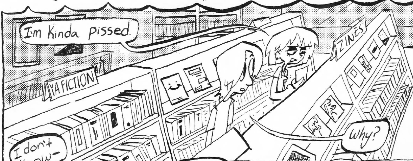 """Two people in a book store, Jackson and Felix. Felix says, """"I'm kinda pissed"""", Jackson responds and asks, """"Why?""""."""