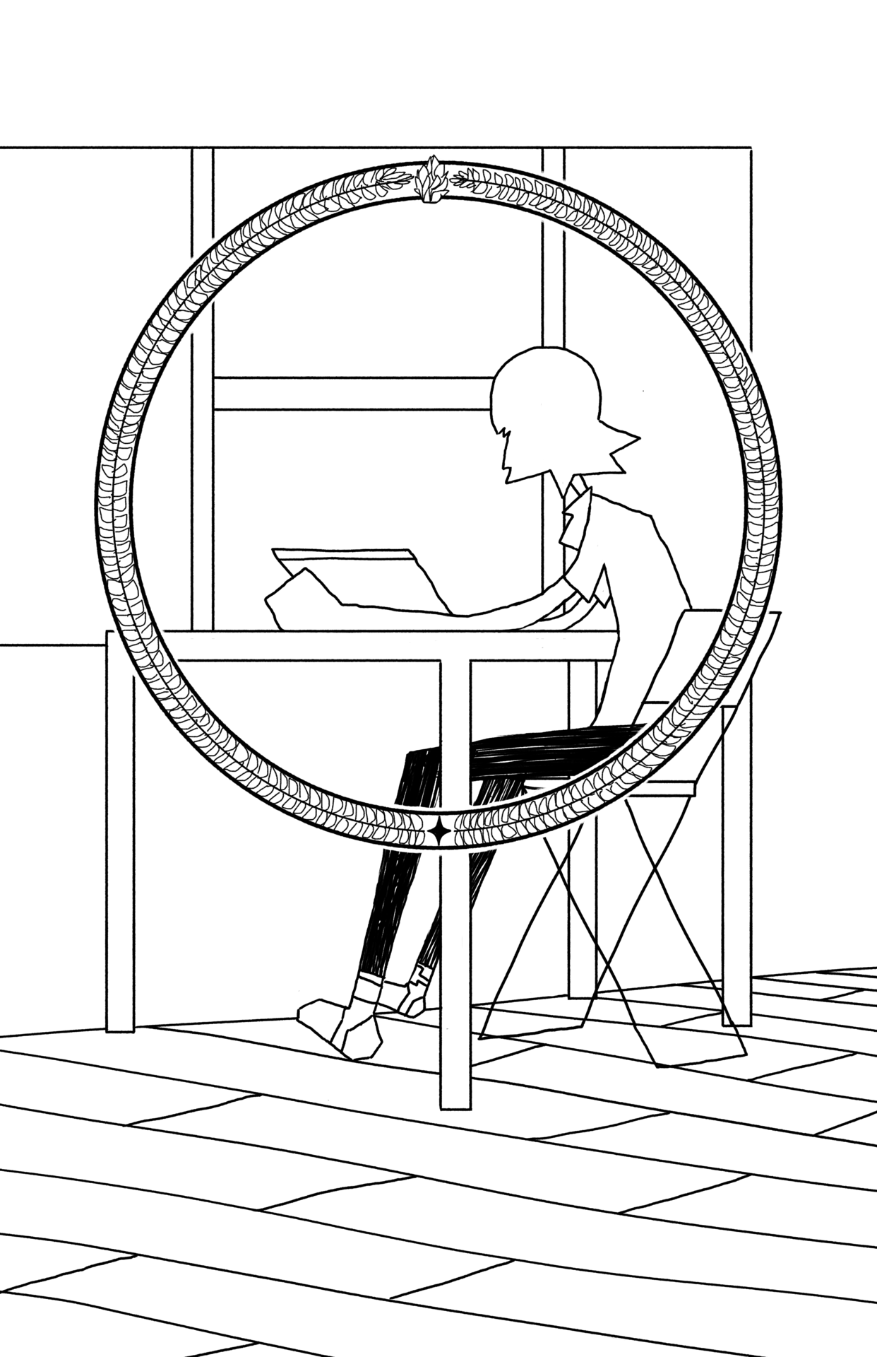 young person at desk with laptop