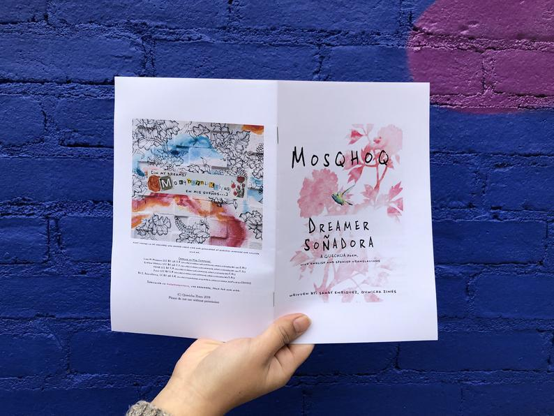 Front and back covers of a zine showing illustrated flowers and a colorful collage