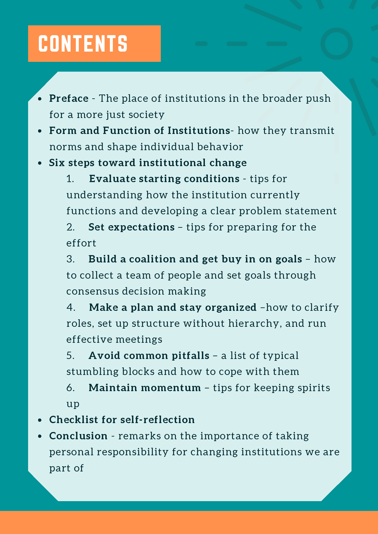 The publication's table of contents: Preface, Form and Functions of Institutions, Six Steps Towards Institutional Change, Checklist for Self-Reflection, and Conclusion