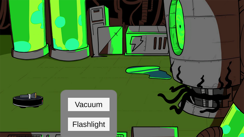 """A small machine facing a tentacled creature with option to use """"vacuum"""" and """"flashlight"""" as attacks"""
