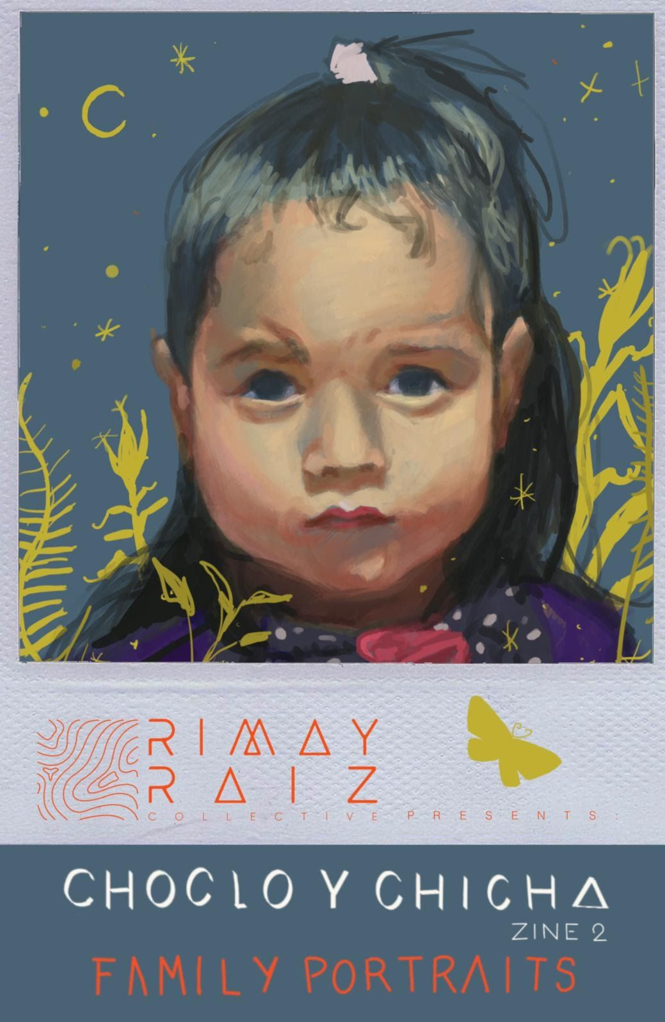 Portrait of a child with night sky and plants in the background